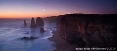 Apostles Sunset and Crescent Moon  Twelve Apostles, Port Campbell NP, Great Ocean Road, Victoria
