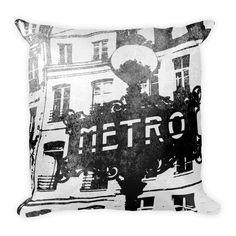 Paris Metro Sign - Pop Art Throw Pillow (B&W) - by Jasper Benoît