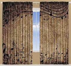 Musical Notes Music Musician Gifts for Men Women Bedroom Living Dining Kids Room Curtains 108 X 84 Inches 2 Panels Set Music Lovers Musician Decor Brown Taupe Black Decorations Window Treatment