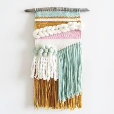 New wall hanging textile design ideas Weaving Loom Diy, Weaving Art, Tapestry Weaving, Hand Weaving, Weaving Wall Hanging, Wall Hangings, Peg Loom, Yarn Thread, Weaving Textiles