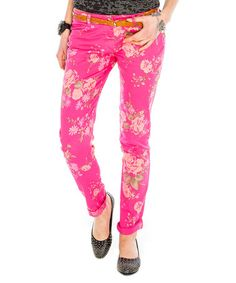 Take a look at this Pink Floral Ultra-Soft Skinny Jeans by City Goddess on #zulily today!