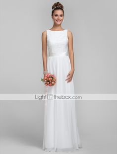 Bridesmaid Dress Floor Length Chiffon and Lace Sheath Column Bateau Dress - USD $ 89.99