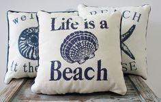 "Nautical Sayings 10"" Throw Pillows - Beach Home Decor Accent - California Seashell Company"