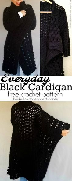 Im so excited to share with you this Everyday Black Crochet Cardigan Pattern! Who doesnt need a black sweater. Its easy to grab and match with pretty much any outfit. You wont believe how simple it is to make! - The Crocheting Place Gilet Crochet, Crochet Coat, Crochet Cardigan Pattern, Crochet Jacket, Crochet Shawl, Crochet Clothes, Easy Crochet, Crochet Sweaters, Crochet Dresses