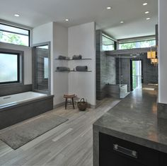 Grey Master Bath Design Ideas, Love the simplicity. Consider big glass pane on shower side facing vanity and then glass door.  More light!