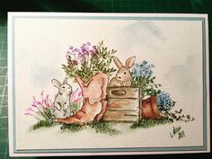 Art Impressions Rubber Stamps: Wonderful Watercolor:Bunny, bunnies, rabbits, boot, wood crate, box, grass, flowers, foliage