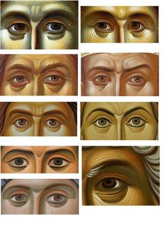 Icon painting technique, painting the eyes Byzantine Icons, Byzantine Art, Religious Icons, Religious Art, Writing Icon, Paint Icon, Jesus Christus, Russian Icons, Religious Paintings