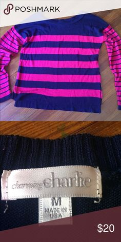 CHARMING CHARLIE- stripe sweater Worn once. Like new condition. Charming Charlie Sweaters