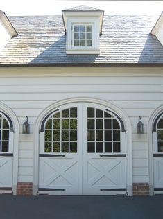 A Colonial Country House traditional garage and shed.doors for garage Georgian Architecture, Architecture Details, Garages, Cabana, Carriage Doors, Barn Doors, Carriage House Garage Doors, Garage House, House Front
