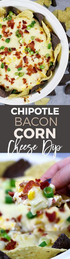 If you like cheese dips, this chipotle bacon corn cheese dip recipe is going to make you so happy! Baked in the oven with three different types of cheese, it's creamy and delicious. Bacon Appetizers, Easy Appetizer Recipes, Healthy Appetizers, Appetizers For Party, Snack Recipes, Delicious Recipes, Tailgating Recipes, Dinner Parties, Party Snacks