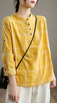 Beautiful Yellow Cotton Shirt Top Casual Style Autumn Tops, Linen Tops, Techniques Couture, Tunic Pattern, Yellow Shirts, Western Outfits, Dress Casual, Shirt Outfit, Long Sleeve Tops