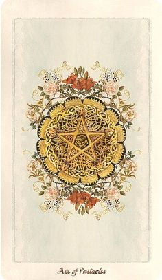 Pagan Otherworlds Tarot, Ace of Pentacles. Currently available for pre-order on the Uusi website. Tarot Card Decks, Tarot Cards, Tarot Card Art, Ace Of Pentacles, Oracle Tarot, Tarot Learning, Cards Diy, Book Of Shadows, Witchcraft