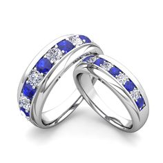 Matching Wedding Band in 14k Gold Brilliant Diamond and Sapphire Wedding Rings. Matching wedding rings feature 14k gold diamond and sapphire wedding bands for him and her. Customize this My Love Wedding Ring set to be your perfect couple rings.
