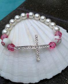 Breast Cancer Awareness - CROSS Bracelet STRETCH - Silver Rhinestone Cross - Pink Swarovski Crystal & Pearl - Pink RIbbon Bead - Any Size