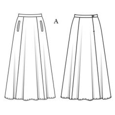 patron couture jupe longue Flat Sketches, Clothing Sketches, Fashion Templates, Creation Couture, Fashion Design Sketches, Long Skirts, Technical Drawing, Fashion Flats, Skirt Fashion
