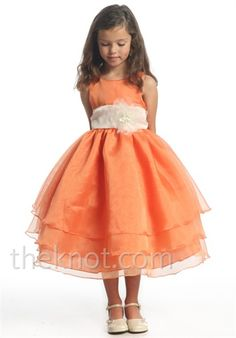 so sweet! I love the idea of orange with a yellow sash for the flower girl and the bridesmaids be in Turq.