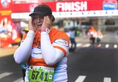 Michelle Oconnor of Farmington Hills reacts to finishing her first marathon at the Annual Detroit Free Press/Talmer Bank Marathon in Detroit. Farmington Hills, First Marathon, Detroit Free Press, It Is Finished, People, Photography, Fashion, Moda, Photograph