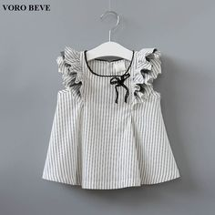 Toddler Kids Baby Girl Ruffle Striped Bow T-Shirt One-Pieces Clothes Summer - Toddler Kids Baby Girl Ruffle Striped Bow T-Shirt One-Pieces Clothes Summer - 500110733621553179 Frocks For Girls, Kids Frocks, Little Girl Dresses, Girls Dresses, Baby Dress Patterns, Baby Clothes Patterns, Baby Girl Fashion, Kids Fashion, Baby Dress Design