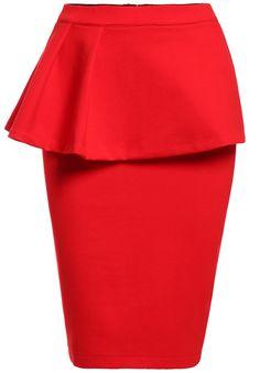 Red Peplum Waist Bodycon Skirt 21.00