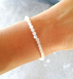 Dainty Bracelets, Gemstone Bracelets, Moonstone Jewelry, Crystal Jewelry, Fertility Crystals, White Beads, Little Gifts, Crystal Healing, White Moonstone