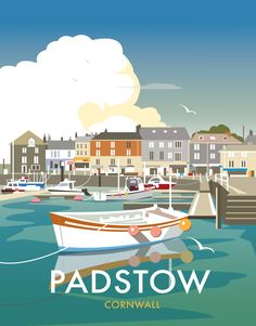 Vintage Travel Poster - Padstow Harbour - Cornwall - by Dave Thompson, Posters Uk, Railway Posters, Vintage Films, Vintage Travel Posters, Beach Posters, Poster Retro, Gig Poster, British Seaside, Tourism Poster