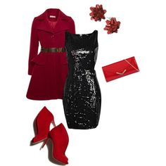 """""""Red and Black Women's Holiday Outfit"""" by jessicaschmidt on Polyvore"""