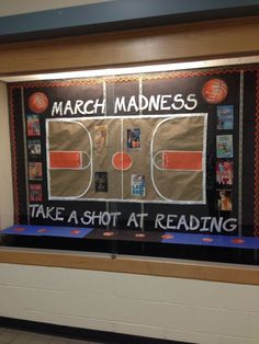 Middle school library bulletin board for March - March Madness, take a shot at reading! could also work as an SLP bulletin board Sports Bulletin Boards, Reading Bulletin Boards, Spring Bulletin Boards, Bulletin Board Display, Classroom Bulletin Boards, March Bulletin Board Ideas, Classroom Ideas, Preschool Bulletin, Google Classroom
