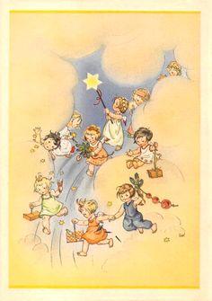 Charlotte Baron (RAA) - Vintage German Christmas Postcard Angels bringing gifts from Heaven