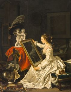 L'Élève intéressante Jean-Honore Fragonard and Marguerite Gerard Private Collection luv this pic look closely it took me a bit too cat and dog fighting on her stool Rococo Painting, Oil Painting Reproductions, Modern Art Paintings, Paintings For Sale, Fragonard Paintings, Jean Antoine Watteau, Jean Honore Fragonard, French Artists, Cat Art