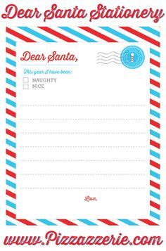 """FREE """"Dear Santa"""" Stationery Download from Pizzazzerie.com!"""