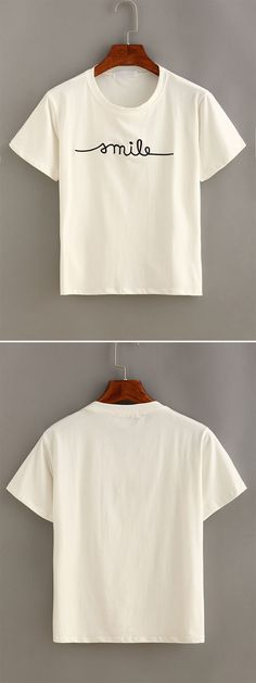 Cute summer basic series-Letter Embroidered Short Sleeve T-shirt. White color, polyester material and only one size. Sale for US$7.99.