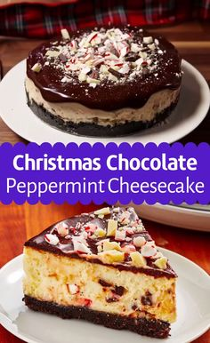 Recipe With Chocolate Peppermint Cheesecake Christmas Desserts Easy, Quick Easy Desserts, Christmas Baking, Christmas Dishes, Christmas Brunch, Christmas Treats, Christmas Recipes, Christmas Cookies, Holiday Recipes