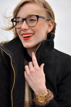 glasses + lipstick + wind machine.