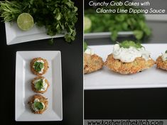 crunchy (fake) crab cakes with cilantro lime dipping sauce More