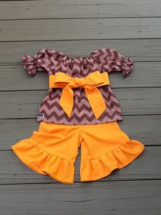 Girls Fall Thanksgiving outfit. Peasant top by EverythingSorella, $52.50