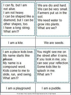 Riddle cards for spring! A fun way to practice inferring and to build vocabulary. Also includes picture cards and a review game. $: