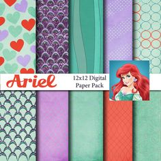 Disney Little Mermaid Ariel Inspired 12x12 Digital Paper Pack for Digital Scrapbooking, Party Supplies, etc -INSTANT DOWNLOAD - on Etsy, $3.99