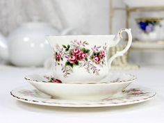c1961 Royal Albert Lavender Rose, Bone China Teacup Trio, Tea Cup, Saucer and 7 Inch Side Plate 12446