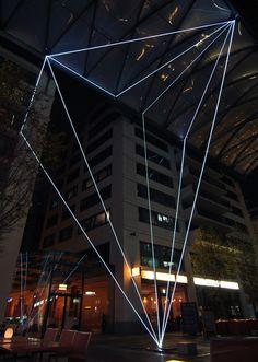 Carlo Bernardini, Suspended Crystallization 2010, optic fibers installation, mt h 25x21x18; Artlight Festival, CityQuartier Domaquarèe, Berlin.