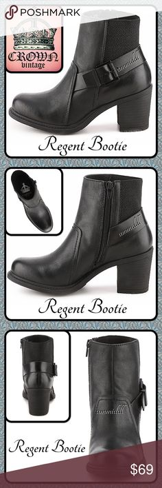 """🆕Crown Vintage 'Regent' Bootie With a buckle strap accent and rugged lug sole, the Regent booties from Crown Vintage will add an edgy touch to any look. Pair these chunky heeled leather ankle boots with your favorite denim for an effortlessly cool casual style.  Details: 🔸Leather and stretch fabric upper 🔸Inside zipper for easy on/off 🔸Elastic back panel for stretch fit 🔸Adjustable buckle strap detail 🔸Round toe 🔸2¾"""" stacked block heel 🔸Rubber lug sole Crown Vintage Shoes Ankle Boots…"""