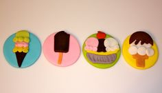 ICE CREAM SHOPPE, and Desserts  -  Fondant Cupcake, and Cookie Toppers - 1 Dozen