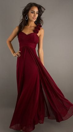 Floor Length Burgundy Chiffon Flowy Semi Formal Dress Empire Waist