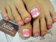 Pink and white toe nails