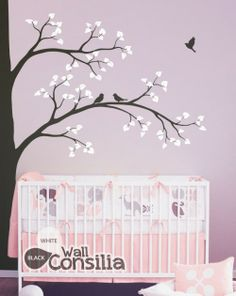 DISCOUNT!! In Stock $105.00 www.wallconsilia.com  Stunning nursery wall decoration with cute birds and leves. Instantly transform your room into a wooded wonderland with a mural-sized vinyl wall sticker. This modern corner tree design also called wall tattoo features branches with cute songbirds and adds whimsy to your walls. Perfect nursery decor for renters and decorators who want a change without the hassle of paint. #DIY #HomeDecor #Trees #Blossoms #Pink #White #Multicolour