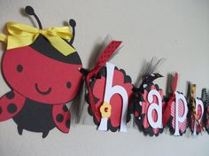 ladybug birthday banner--Tanna, this screams Emma Happy Birthday Banners, 3rd Birthday, Birthday Ideas, Birthday Parties, Ladybug Party, Ladybug Picnic, Arts And Crafts, Diy Crafts, Party Time