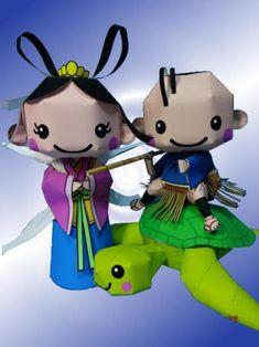 Urashima Taro, Otohime and Turtle Free Paper Toys Download - http://www.papercraftsquare.com/urashima-taro-otohime-and-turtle-free-paper-toys-download.html#Otohime, #Turtle, #UrashimaTaro