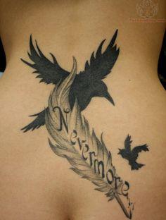 artistic bird and feather tattoos | Edgar Allen Poe Url=http//wwwtattoostimecom/flying Birds And Feather Tattoo