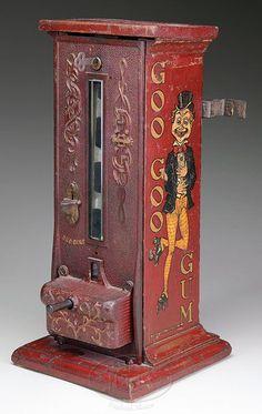 Rare Antique Goo Goo Gum machine - James D. Julia, Inc. Retro Advertising, Vintage Advertisements, Antique Toys, Rare Antique, Antique Furniture, Vintage Tins, Vintage Antiques, Vendor Machine, Penny Candy