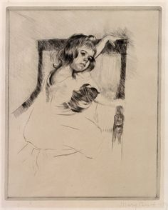 #kneeling in an #armchair by mary #cassatt, #etching and #drypoint #print on #paper c. 1903, high #resolution fine #art reproductions . #impressionism #impressionism #fineart #posters #reproduction #printmaking #printmaker #drawing #littlegirl #bows #whitedress #kneel #play #girl #toddler #chair #portrait #Cassatt #copperplate