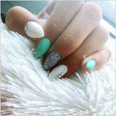 Lovely mint nails <3 Almond shape, love it!